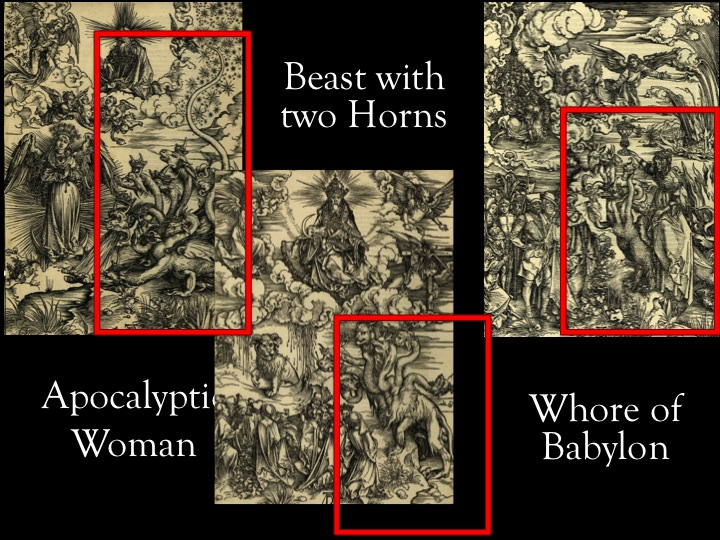 Beast with horns, apocalyptic woman and whore of Babylon