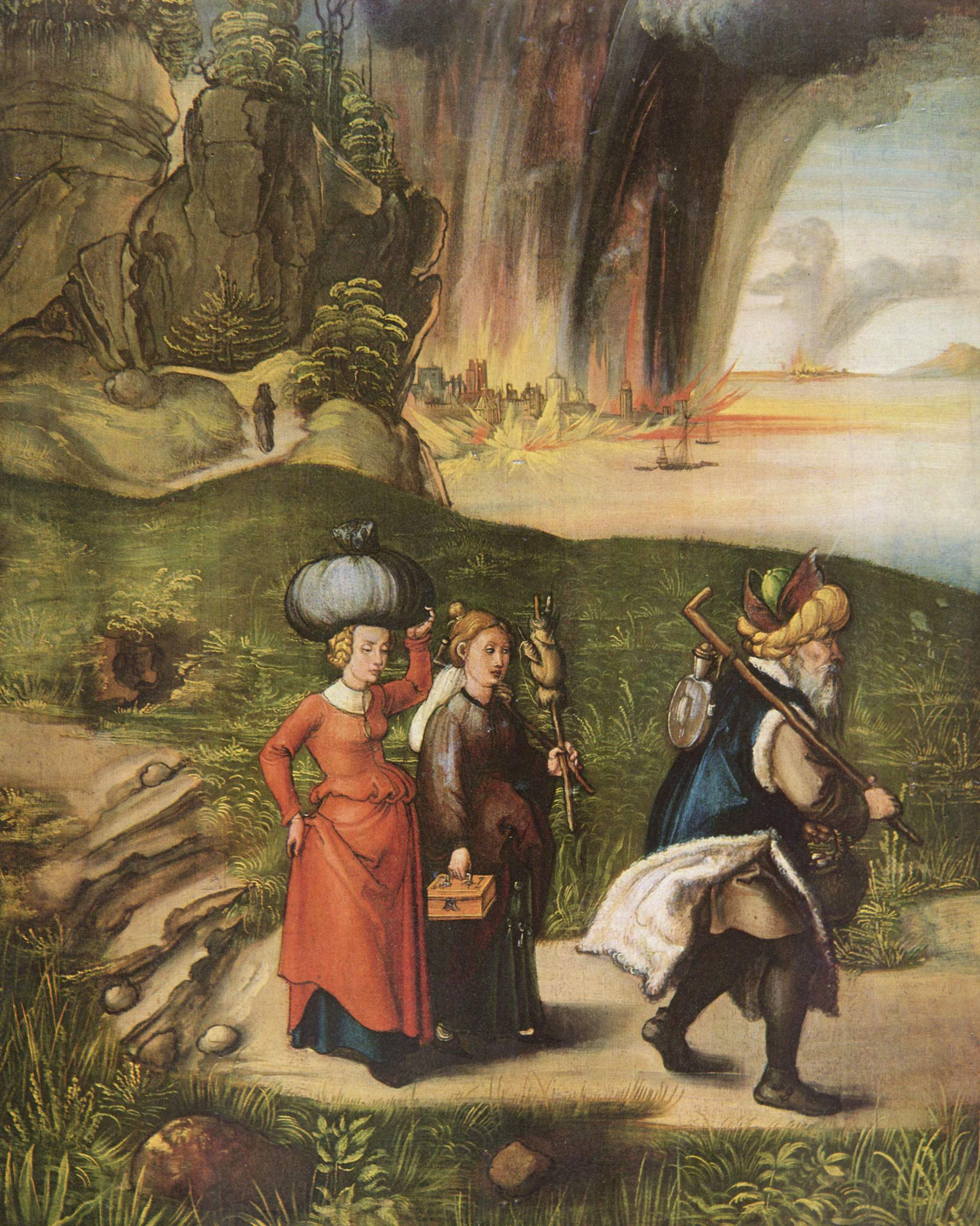 Lot and his family fleeing from sodom