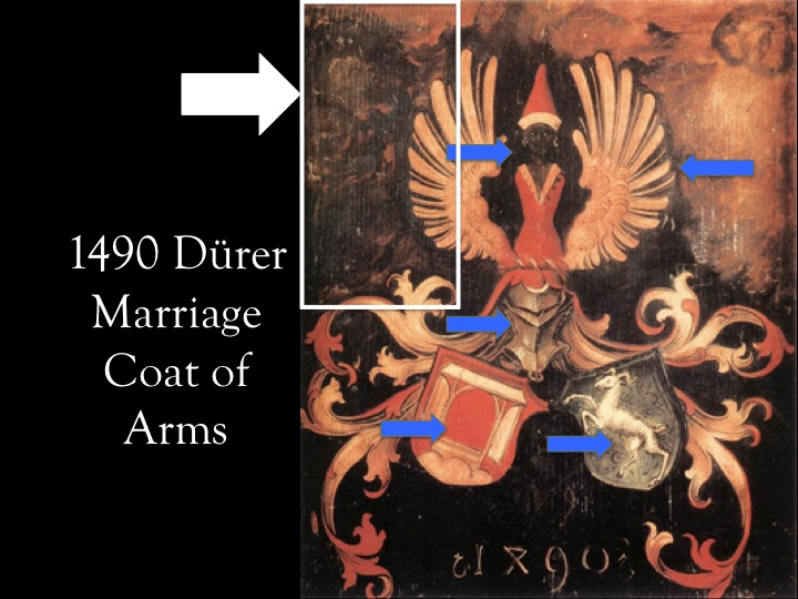The marriage coat of arms of Barbara and Albrecht the Elder with each significant part indicated