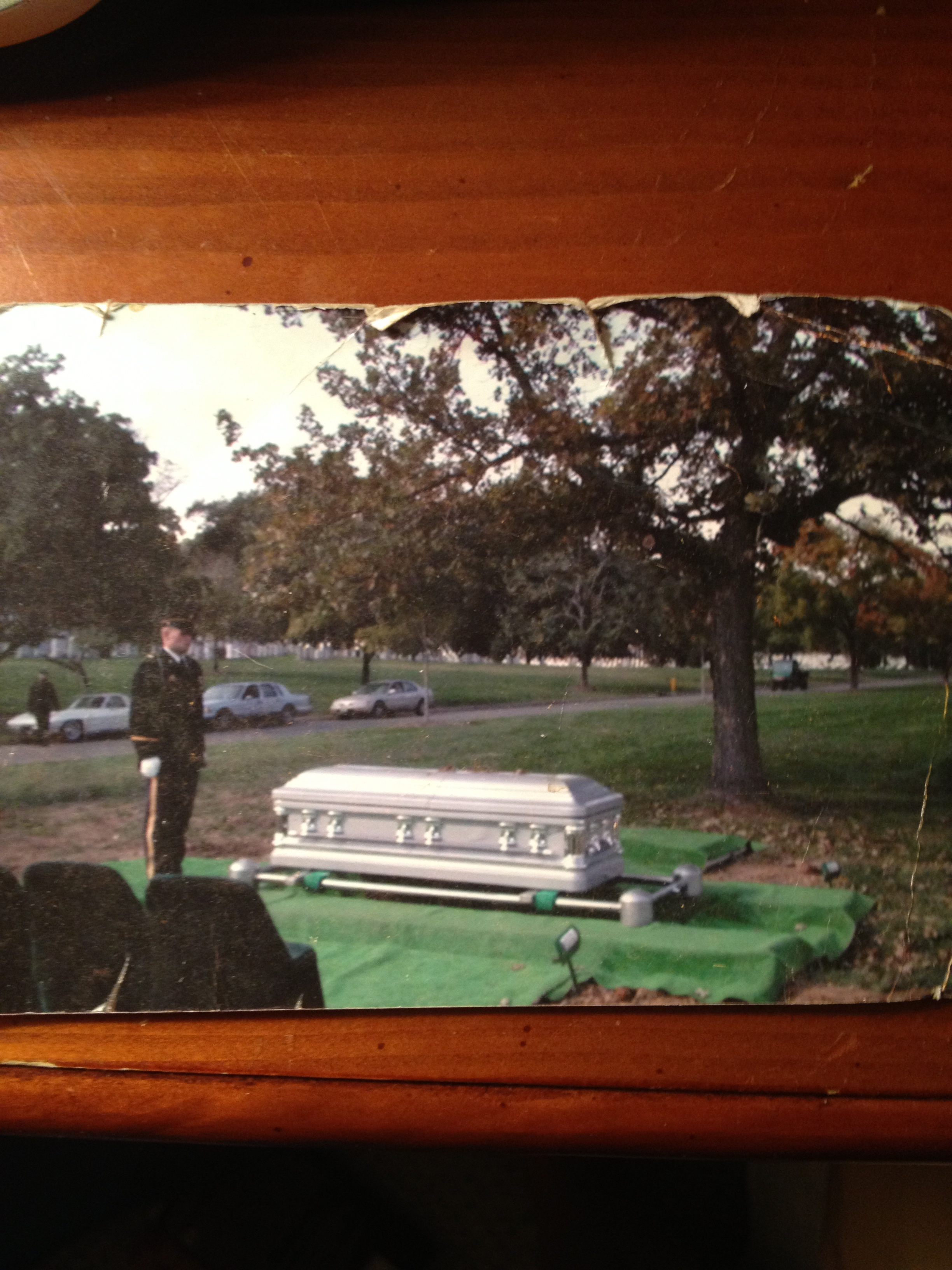 MY HUSBAND'S BURIAL AT ARLINGTON. SORRY THE PIC IS BLURRY, IT'S NOT EASY GOING THRU THIS