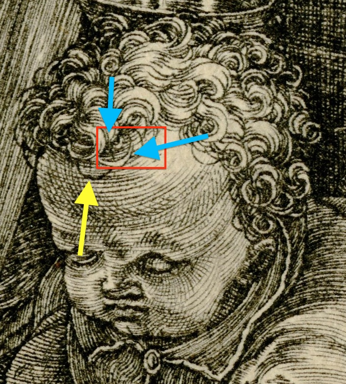 The boat and circle in the putto's hair